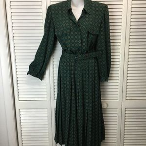 Appleseeds green pleated dress blouson sleeve 10